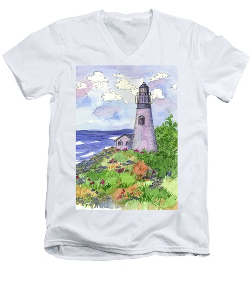 Men's V-Neck T-Shirt featuring the painting Lighthouse In Summer  by Cathie Richardson