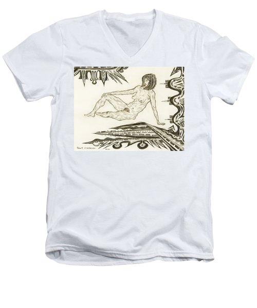 Live Nude 4 Female Men's V-Neck T-Shirt by Robert SORENSEN