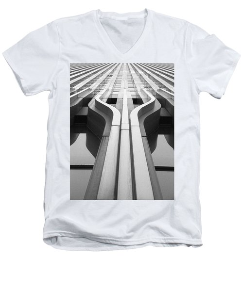 Look Up A Twin Tower Men's V-Neck T-Shirt by Darcy Michaelchuk