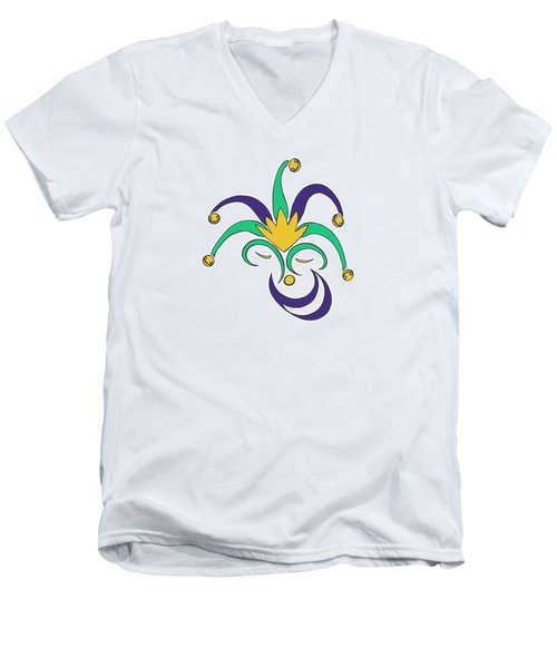 Mardi Gras Jester Men's V-Neck T-Shirt