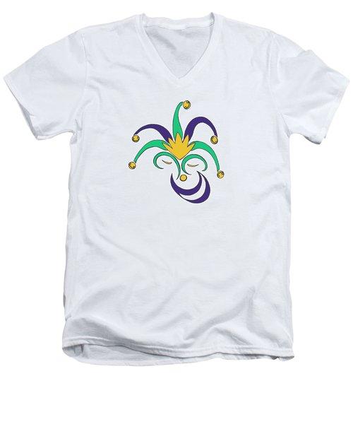 Mardi Gras Jester Men's V-Neck T-Shirt by Alycia Christine