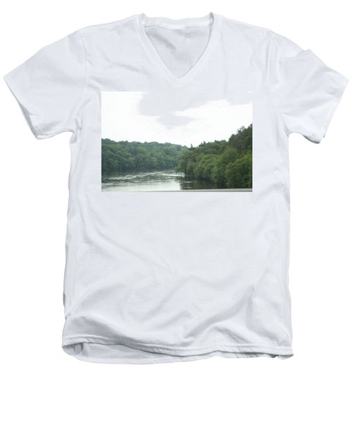 Mighty Merrimack River Men's V-Neck T-Shirt by Barbara S Nickerson