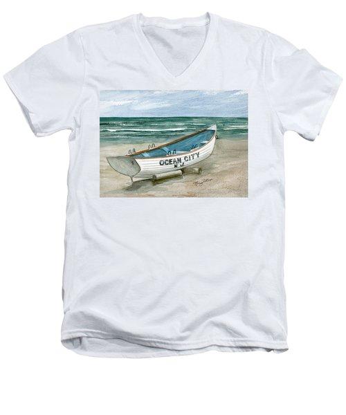 Ocean City Lifeguard Boat Men's V-Neck T-Shirt