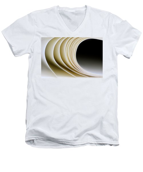 Men's V-Neck T-Shirt featuring the photograph Paper Curl by Pedro Cardona