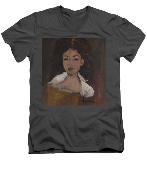 Autumn Walking Men's V-Neck T-Shirt by Laurie L