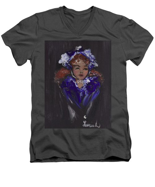 Men's V-Neck T-Shirt featuring the painting Lil Girl Blue by Laurie L