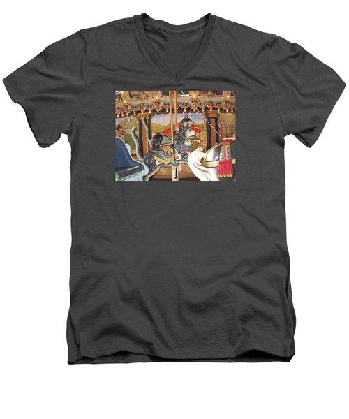 Men's V-Neck T-Shirt featuring the photograph Philadelphia Style Cats by Barbara McDevitt