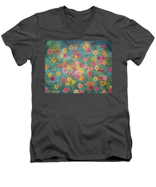 A Field Of Flowers Men's V-Neck T-Shirt by John Keaton