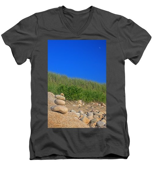 Cairn Dunes And Moon Men's V-Neck T-Shirt