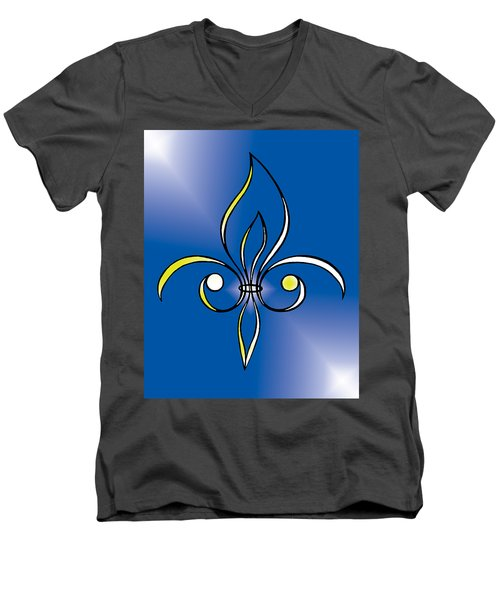 Fleur De Lis In Gold Men's V-Neck T-Shirt