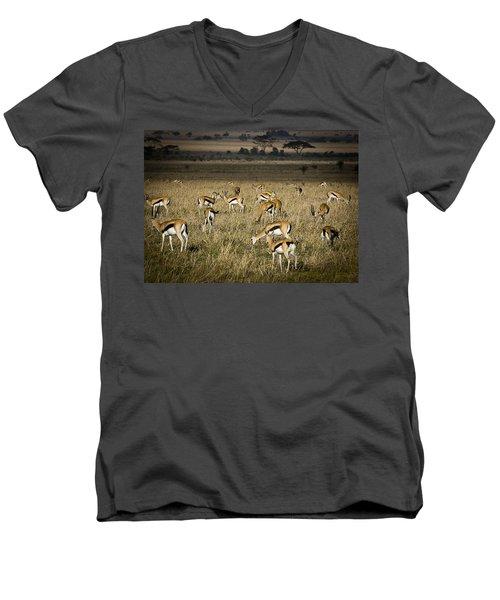 Herd Of Antelope Men's V-Neck T-Shirt by Darcy Michaelchuk