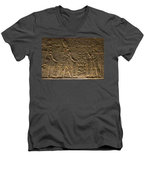 Hieroglyph At Edfu Men's V-Neck T-Shirt by Darcy Michaelchuk