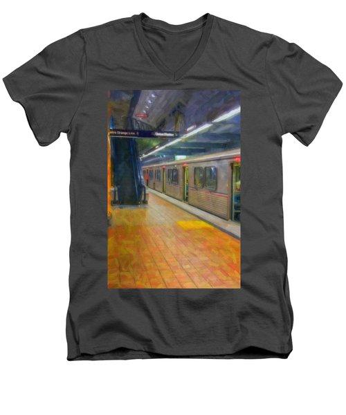 Men's V-Neck T-Shirt featuring the photograph Hollywood Subway Station by David Zanzinger
