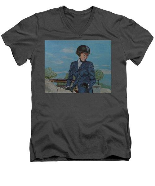Horseshow Day Men's V-Neck T-Shirt by Patricia Barmatz