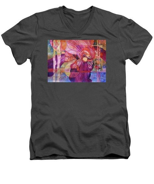 Iris Delight Men's V-Neck T-Shirt by Lynda Hoffman-Snodgrass
