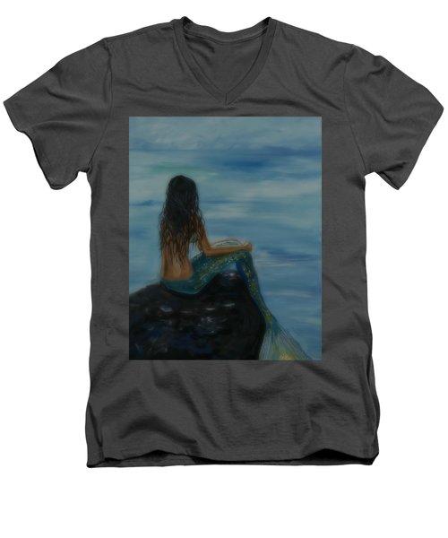 Mermaid Mist Men's V-Neck T-Shirt by Leslie Allen