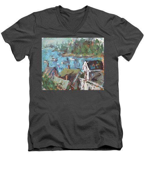 Men's V-Neck T-Shirt featuring the painting Original Modern Abstract Maine Landscape Painting by Robert Joyner