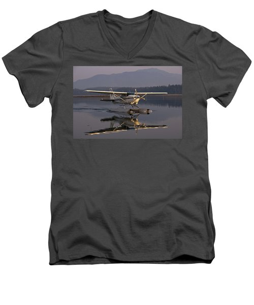 Reflections Of A Float Plane Men's V-Neck T-Shirt by Darcy Michaelchuk