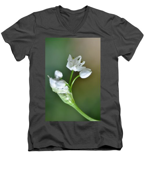 White Blossom 3 Men's V-Neck T-Shirt