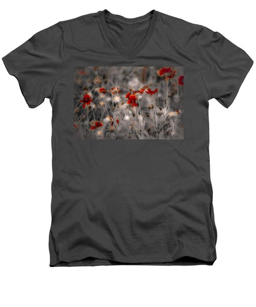 Wildflowers Of The Dunes Men's V-Neck T-Shirt by DigiArt Diaries by Vicky B Fuller