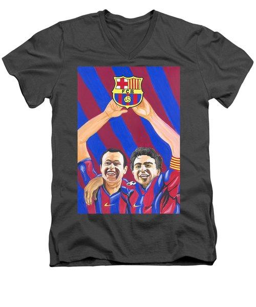Men's V-Neck T-Shirt featuring the painting Xavi And Iniesta by Emmanuel Baliyanga