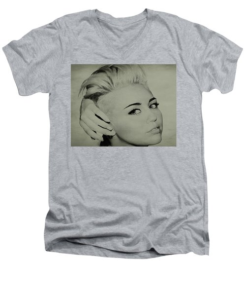 Men's V-Neck T-Shirt featuring the drawing Miley Cyrus  by Brian Reaves