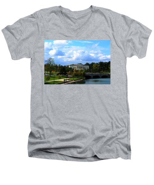 Men's V-Neck T-Shirt featuring the photograph Rose Garden And Hoyt Lake by Michael Frank Jr