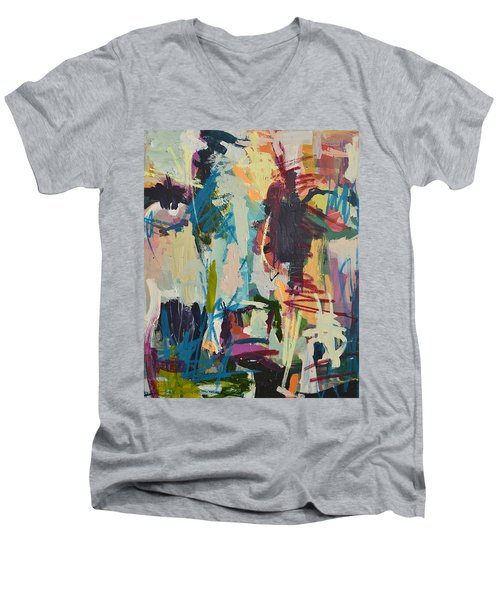 Modern Abstract Cow Painting Men's V-Neck T-Shirt by Robert Joyner