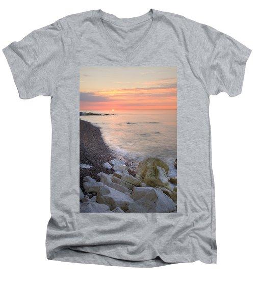 Sunrise At The White Cliffs Of Dover Men's V-Neck T-Shirt