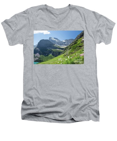 Beargrass - Grinnell Glacier Trail - Glacier National Park Men's V-Neck T-Shirt