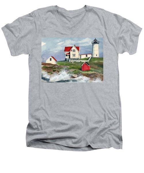 Cape Neddic Lighthouse  Men's V-Neck T-Shirt