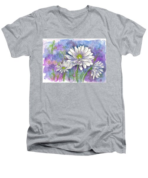Men's V-Neck T-Shirt featuring the painting Daisy Three by Cathie Richardson
