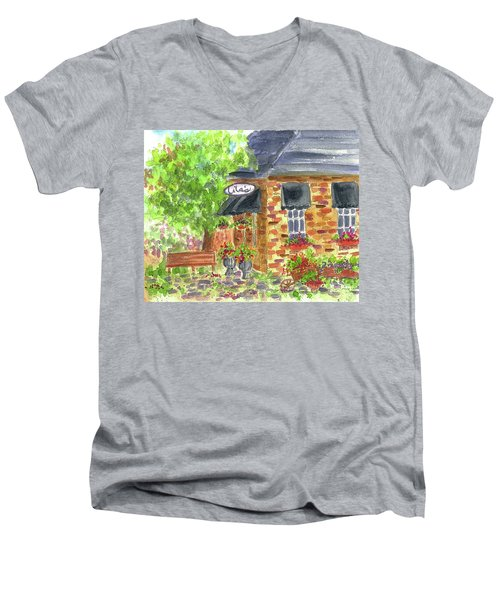 Men's V-Neck T-Shirt featuring the painting Lila's Cafe by Cathie Richardson