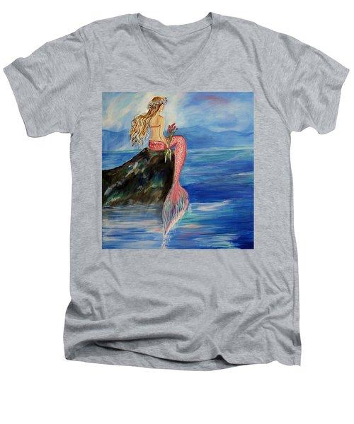 Mermaid Wishes Men's V-Neck T-Shirt by Leslie Allen