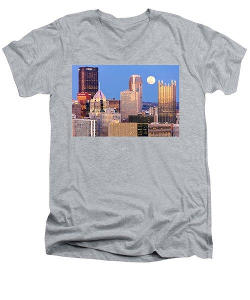 Moon Over Pittsburgh 2 Men's V-Neck T-Shirt by Emmanuel Panagiotakis