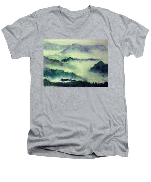 Men's V-Neck T-Shirt featuring the painting Mountain Oriental Style by Yoshiko Mishina