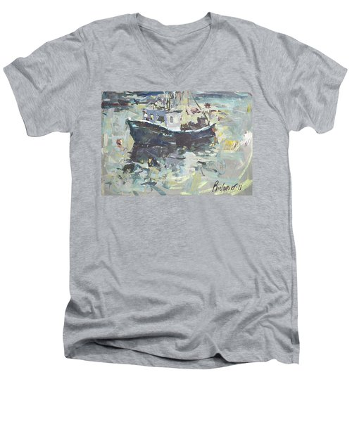 Men's V-Neck T-Shirt featuring the painting Original Lobster Boat Painting by Robert Joyner