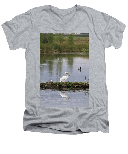 Pelican Reflection Men's V-Neck T-Shirt
