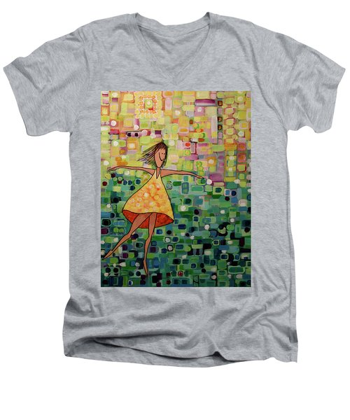 Men's V-Neck T-Shirt featuring the painting Spinning by Donna Howard