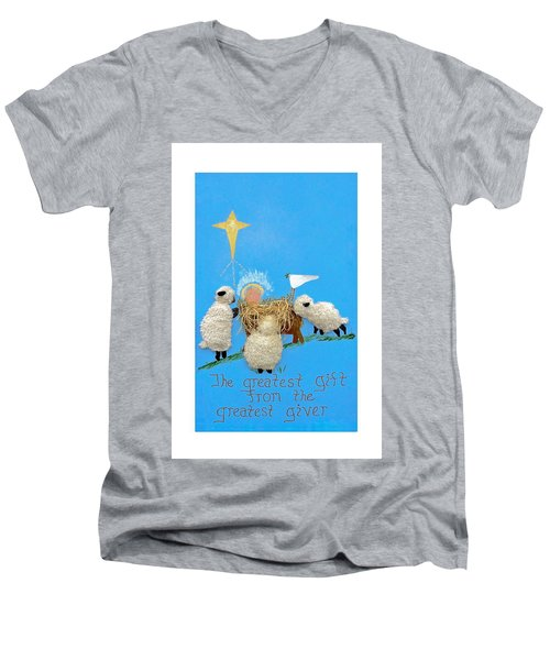 The Greatest Gift Men's V-Neck T-Shirt by Sally Weigand