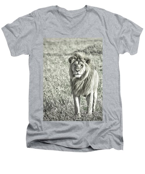 The King Stands Tall Men's V-Neck T-Shirt by Darcy Michaelchuk