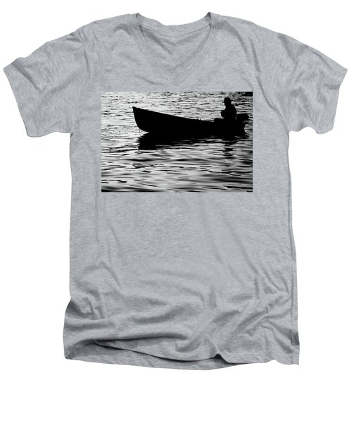 Men's V-Neck T-Shirt featuring the photograph The Old Fishermen by Pedro Cardona