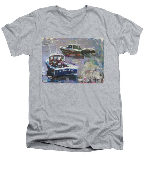 Men's V-Neck T-Shirt featuring the painting Two Lobster Boats by Robert Joyner