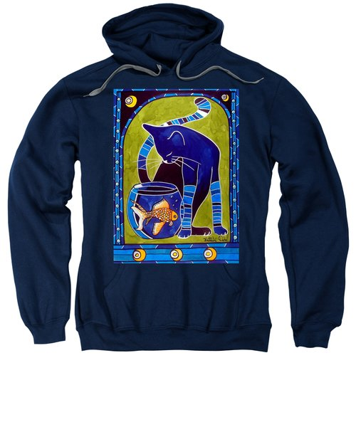 Sweatshirt featuring the painting Blue Cat With Goldfish by Dora Hathazi Mendes