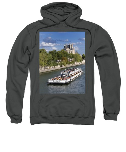 Sightseeing Boat On River Seine To Louvre Museum. Paris Sweatshirt