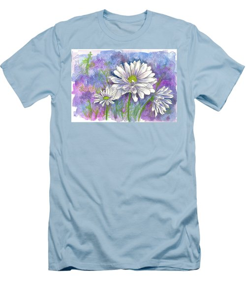 Men's T-Shirt (Slim Fit) featuring the painting Daisy Three by Cathie Richardson