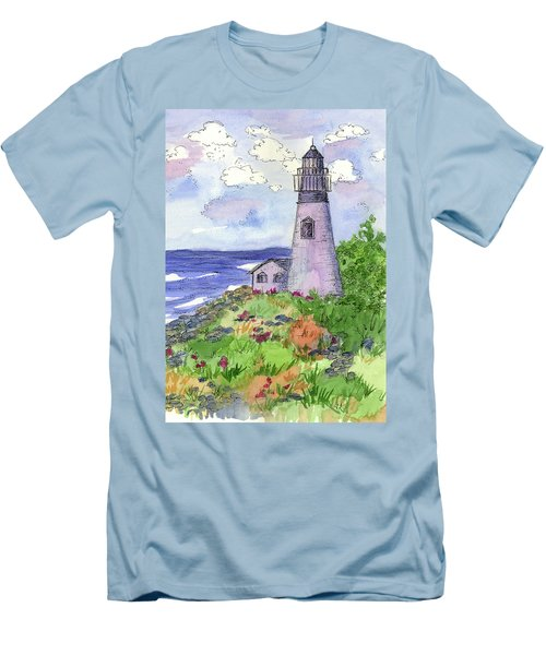 Men's T-Shirt (Slim Fit) featuring the painting Lighthouse In Summer  by Cathie Richardson