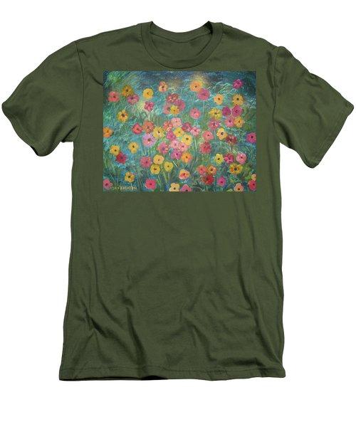 A Field Of Flowers Men's T-Shirt (Slim Fit) by John Keaton