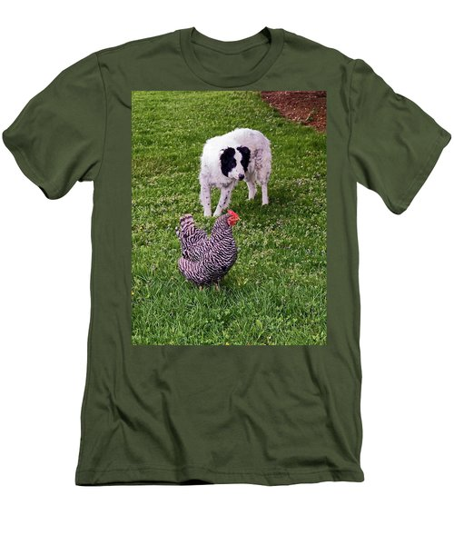 Border Collie Herding Chicken Men's T-Shirt (Slim Fit) by Sally Weigand
