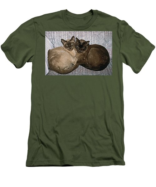 Men's T-Shirt (Slim Fit) featuring the photograph Tonkinese Pals by Sally Weigand